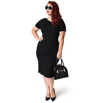 3c8cc270b2 Unique Vintage Plus Size 1960s Style Black Short Sleeve Mod Wiggle Dress