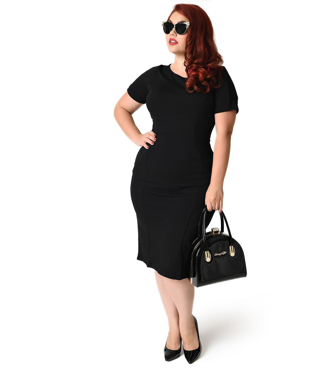 Unique Vintage Plus Size 1960s Style Black Short Sleeve Stretch Mod Wiggle Dress