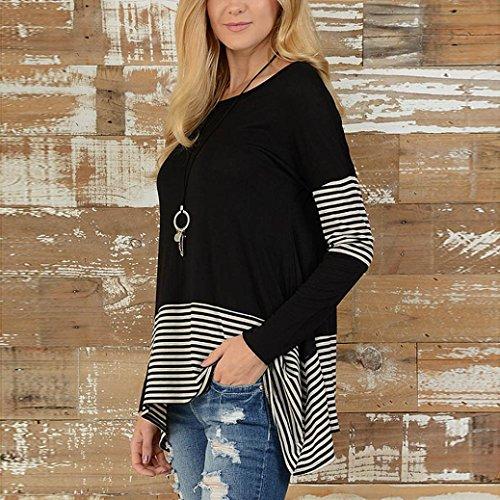 Blouse Shirt Hiver Felicy Rond Sexy Noir Tunique Femme Top T Mode Chic Manche Shirt T Automne Longues Femme Col Manches Hauts Longue Casual 0w0rAq16