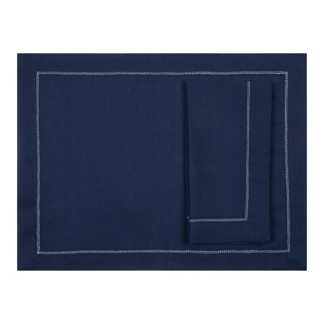 Navy Blue Pure Linen Placemat With Ivory Contrast Hemstitch (Set of Six)