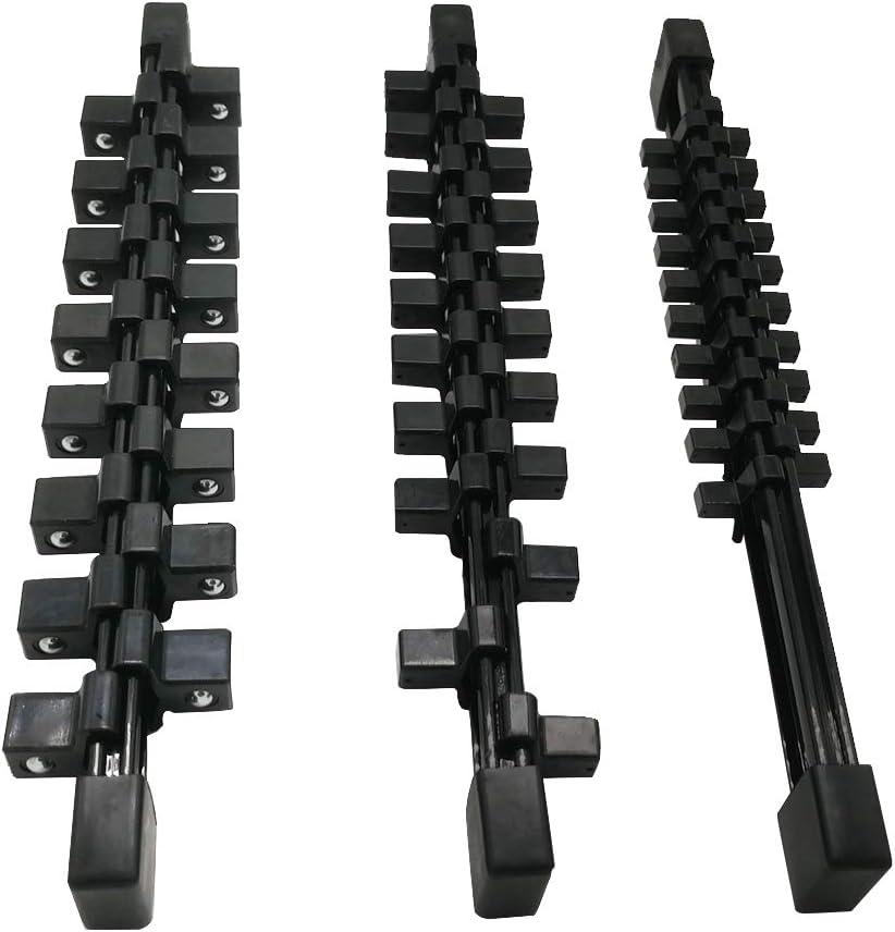 Organizador de llaves de vaso de 3 piezas de doble cara 3//8 pulgadas 1//2 pulgadas 1//4 pulgadas SAE y soporte m/étrico para llaves de vaso