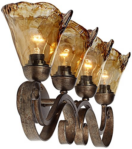 Amber Scroll 29 1/2'' Wide Art Glass and Bronze Bath Light by Franklin Iron Works (Image #4)