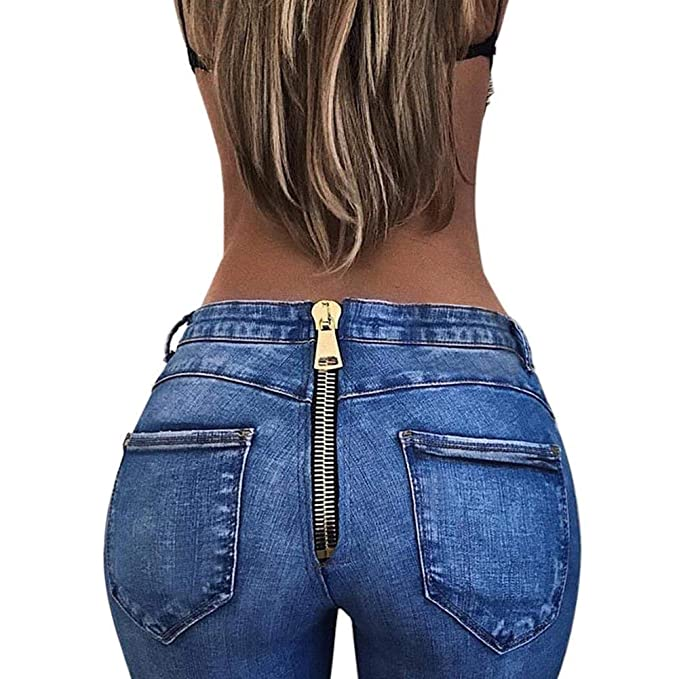 Pantalones Vaqueros De Las Mujeres Moda De Cintura Alta Ocio ...