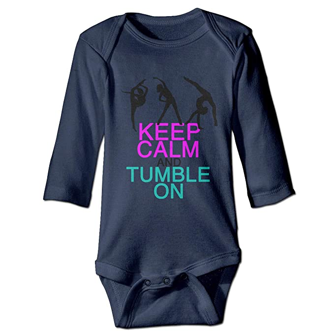 Amazon.com  Girls Keep Calm Tumble On Gymnastics Babysuit Long Sleeve  Bodysuit Outfit Gray  Clothing cc9e854b1
