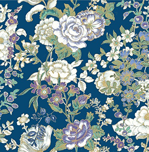 Oriental Floral Wallpaper (A-Street Prints 1014-001847 Ainsley Boho Floral Wallpaper, Indigo)