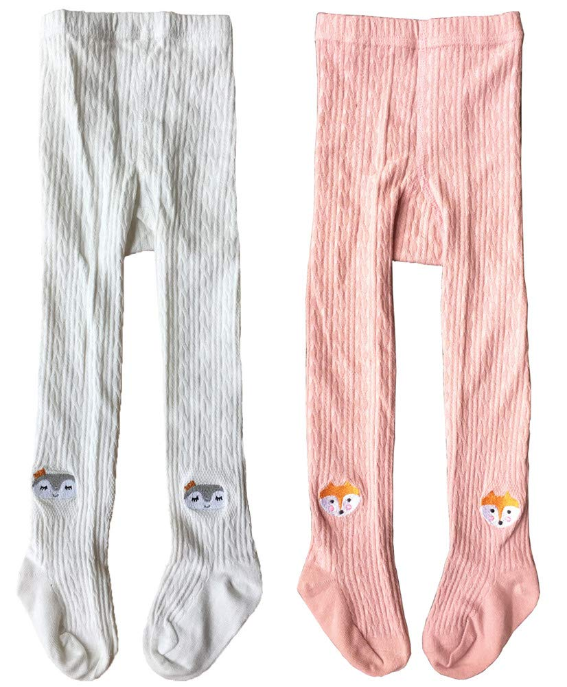 QandSweet Toddler Girls Tights Knit Cotton Pantyhose Dance Leggings Pants Stockings Animal Head 1-2T by QandSweet (Image #1)