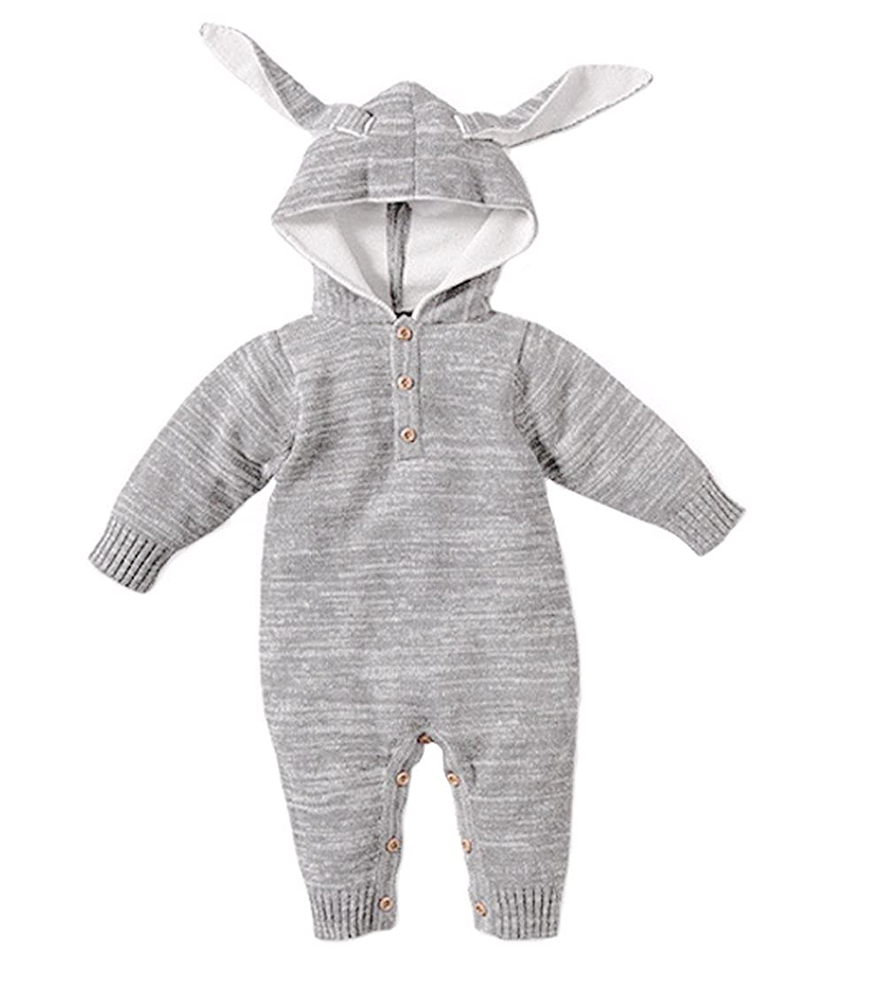 Tortor 1Bacha Unisex Newborn Infant Baby Knit Outfit Hooded Jumpsuit Coverall