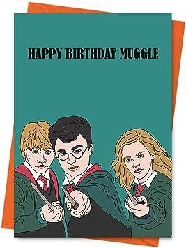 Tarjeta de cumpleaños divertida, inspirada en Harry Potter, tarjeta de cumpleaños de Hermione, Ron, tarjeta de mago, tarjeta de Hogwarts – Tarjeta de ...