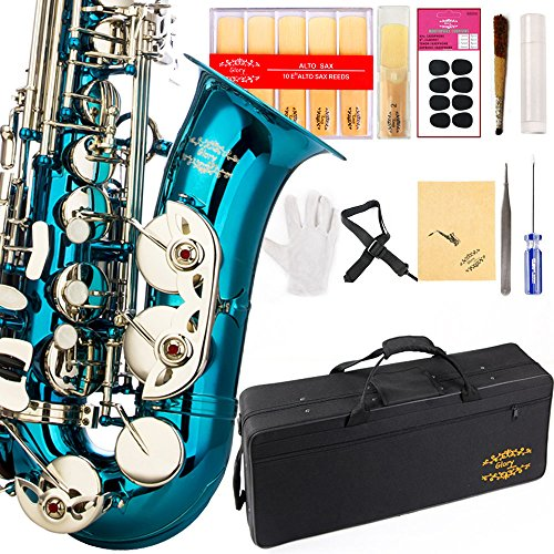 Glory Light Blue/Silver keys E Flat Alto Saxophone with 11reeds,8 Pads cushions,case,carekit-More Colors with Silver or Gold keys