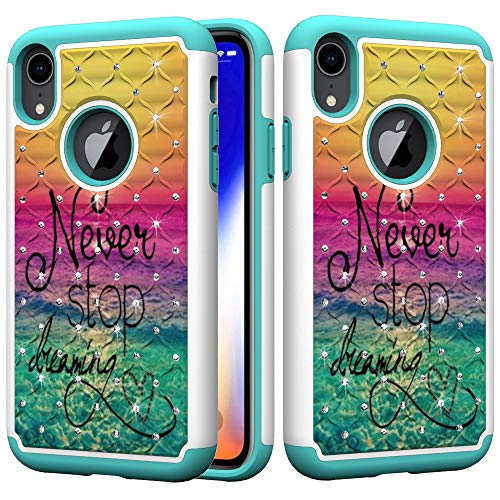 (iPhone XR Case, UZER Dual Layer Shockproof Luxury Glitter Sparkle 3D Diamond Studded Bling Rhinestone Painted Series Hard PC+ Soft Silicone Hybrid Impact Defender Case for iPhone XR 6.1