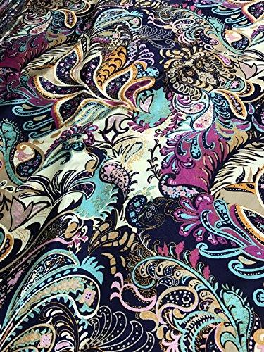 Floral Paisley Black Faux Silk Satin Fabric 48