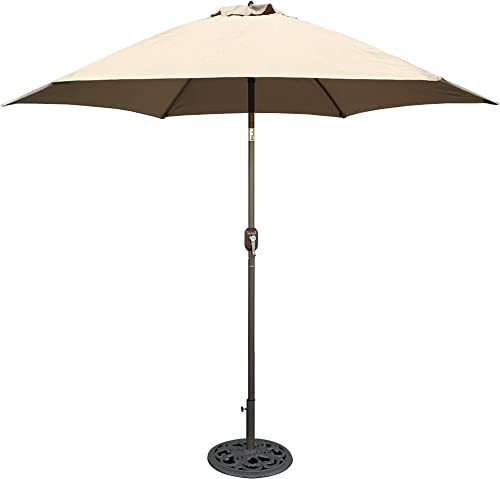 Tropishade 9 ft Bronze Aluminum Patio Umbrella with Beige Polyester Cover Renewed