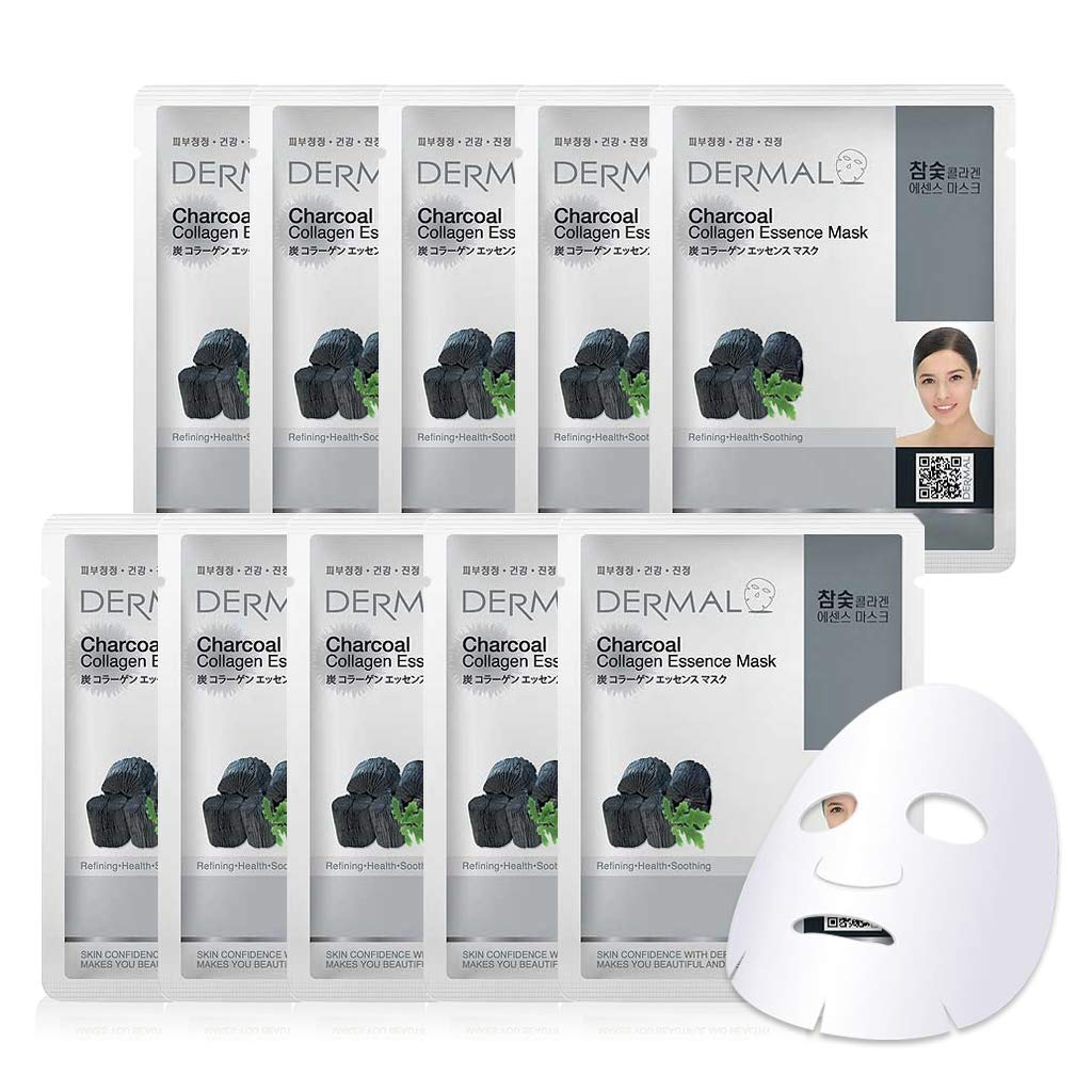 DERMAL Charcoal Collagen Essence Facial Mask Sheet 23g Pack of 10 - Pore Tightening & Clearing, Skin Purifying & Detoxifying, Daily Skin Treatment Solution Sheet Mask