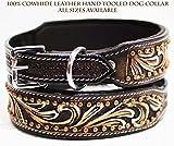 Leather Dog Collar - Large Bling Rhinestone Dog Puppy Collar Crystal Western Cow Leather 6016