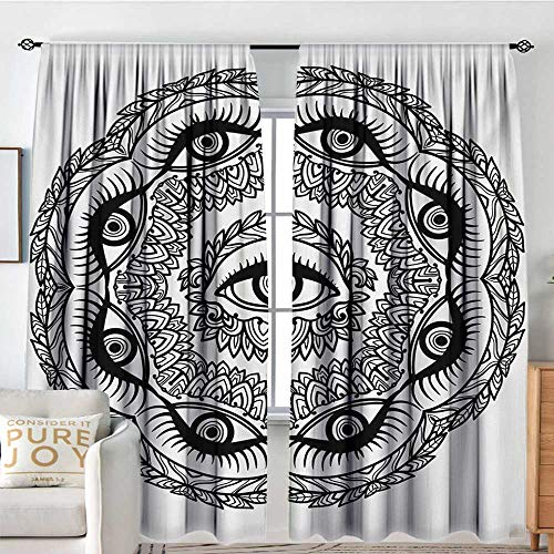 Providence Light Ceiling Leaf - Petpany Blackout Curtains for Bedroom/Living Room Occult,Print in Abstract Floral Crown of Leaves Sticks with Eye of Providence Boho Symbol,Black White,Insulated Draperies for Office Nursery 72