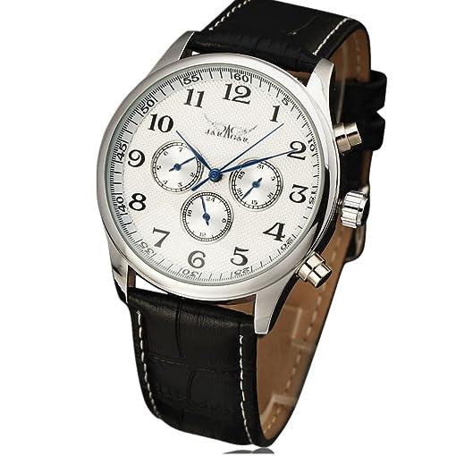 JARAGAR Watches Classic Mens AUTO Date automatic Mechanical Watch Self-Winding Analog Skeleton Balck Leather