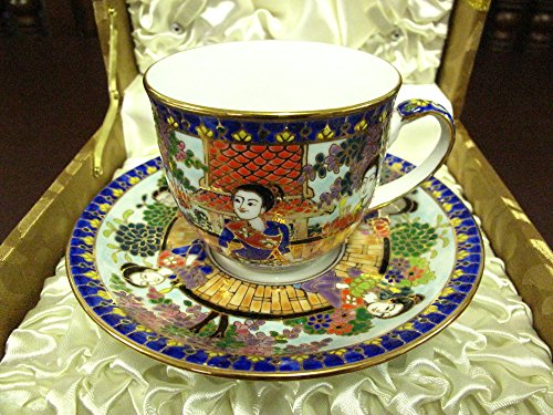 Benjarong tea cup in Thai culture the identity of Thai in Loy Krathong tradition, dressed in Thai style. beautyful color and 12K.