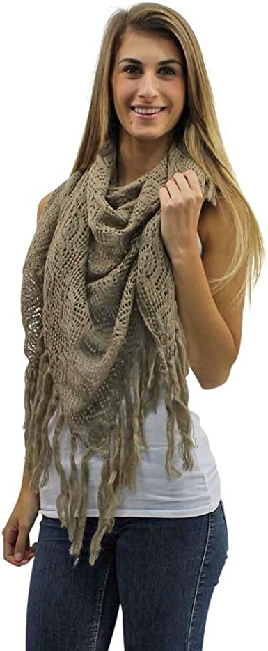 NEW women winter warm triangle KNITTED long scarf with lace shawl wrap fringe