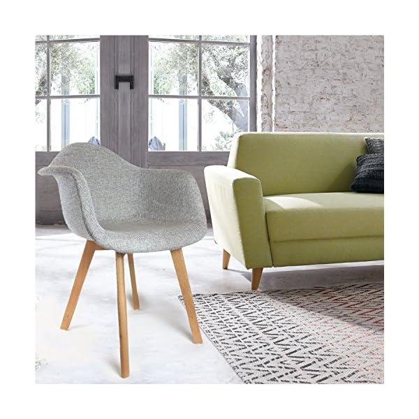 THE HOME DECO FACTORY – HD3094 – Lot de 2 Fauteuils Scandinave Tissu Bois + Polyester Gris 62 x 60,50 x 86 cm