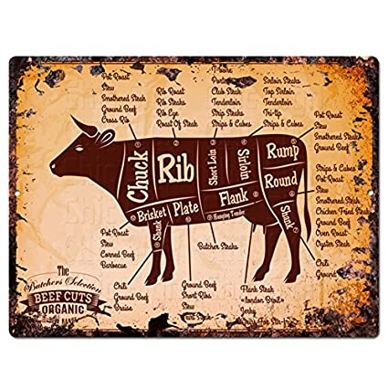 Beef Meat Cuts Guide Chart Rustic Vintage Kitchen Wall Decor  9u0026quot;x12u0026quot; Metal Plate