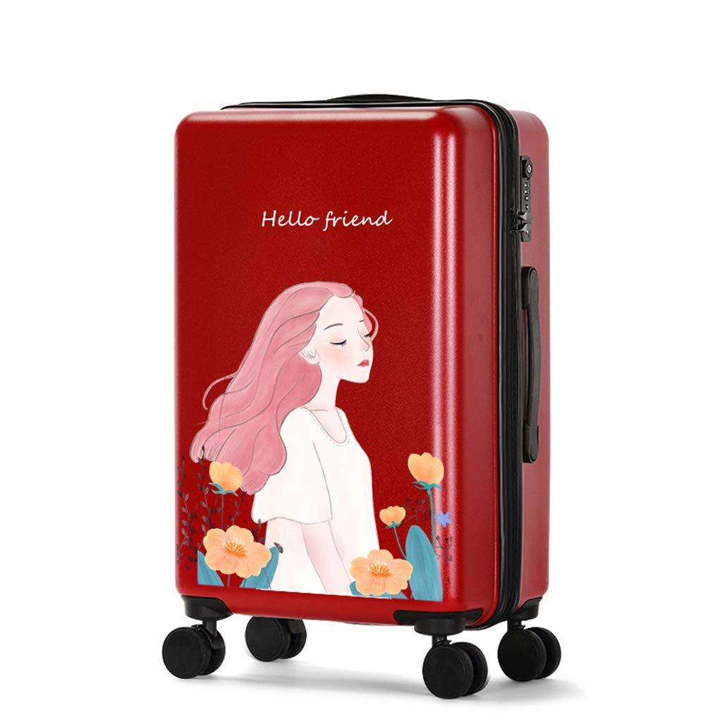 少女新鮮なかわいい荷物トロリー女性の漫画の学生Suitcase18inch / 20inch / 24inch / 26inch (色 : Red, サイズ さいず : 18INCH) 18INCH Red B07L797J4N