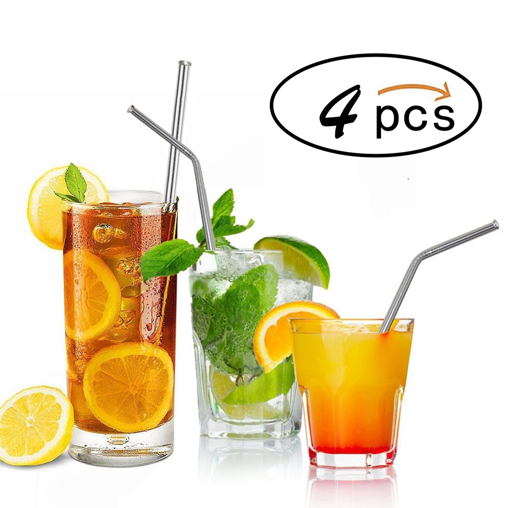 Stainless Steel Straws, Denshine Stainless Steel Drinking Straws Set of 4 Straws for 20 30oz Yeti & RTIC Tumblers Yeti Straw/Metal Straws Straw Cleaner Included (Silver)