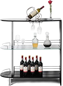 COSTWAY Bar Cabinets Table with 2-Holder, Modern Liquor Display Bar Cabinet with Tempered Glass Shelves, Wine Storage with Wine Glass Holders Ideal for Home/Kitchen/Bar/Pub, Black