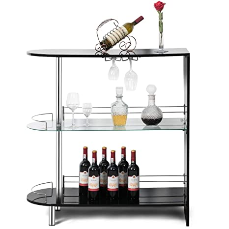 COSTWAY Bar Cabinets Table with 2-Holder, Modern Liquor Display Bar Cabinet  with Tempered Glass Shelves, Wine Storage with Wine Glass Holders Ideal ...