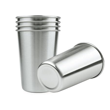 Acero inoxidable vasos de pinta para cerveza agua café té 5 unidades 16 oz, sin plomo sola pared metal vasos Copa apilable resistente para al aire ...