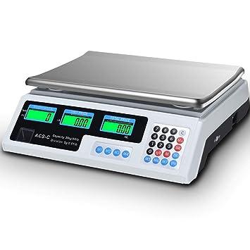 custpromo 66 libras Balanza de peso digital electrónica al por menor alimentos carne contar con báscula de cocina: Amazon.es: Hogar