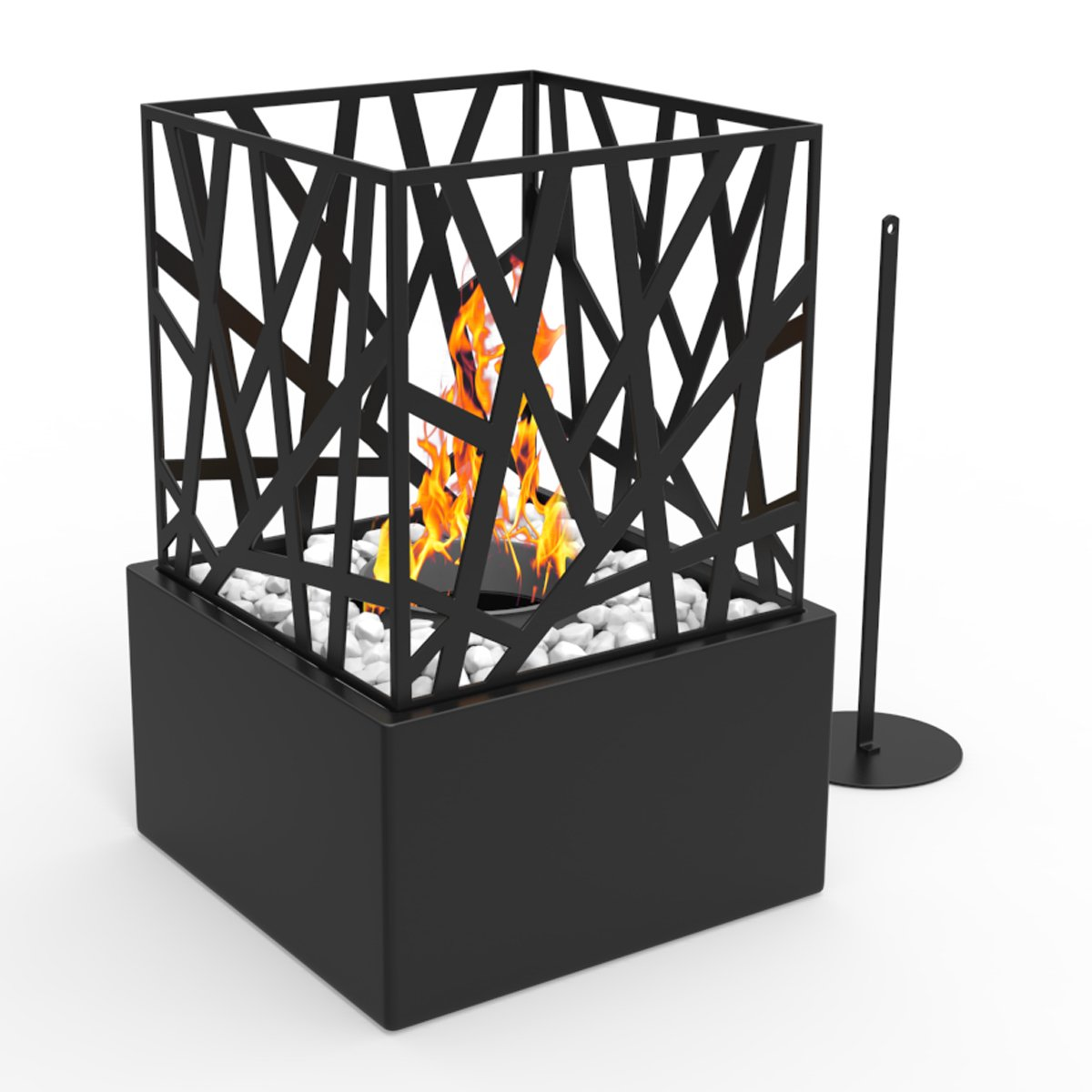 Regal Flame Bruno Ventless Indoor Outdoor Fire Pit Tabletop Portable Fire Bowl Pot Bio Ethanol Fireplace in Black - Realistic Clean Burning like Gel Fireplaces, or Propane Firepits by Regal Flame