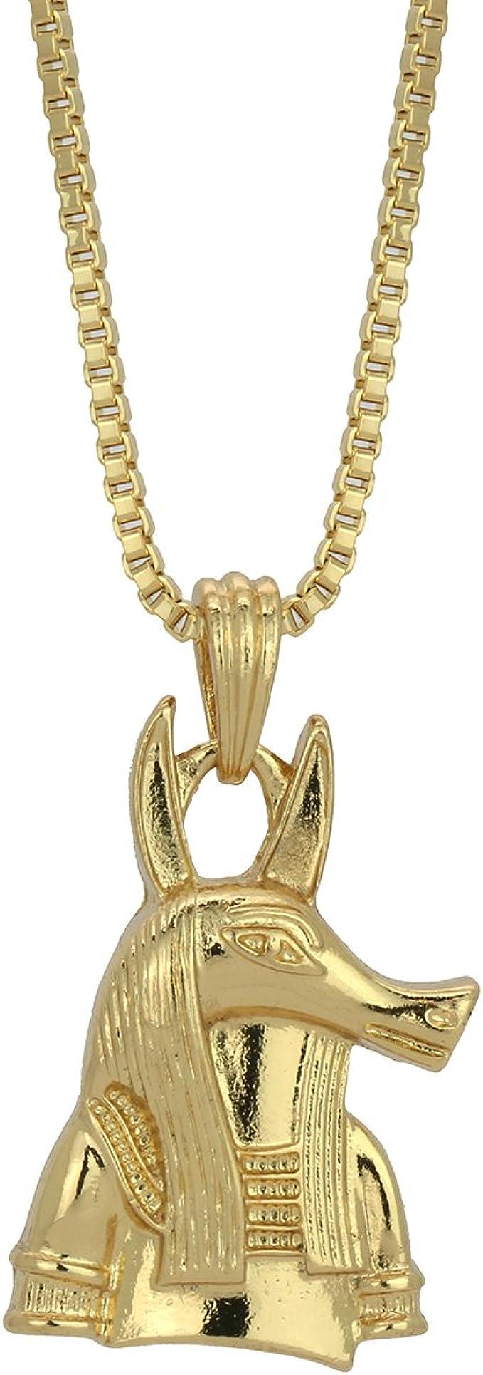 """Egypt Anubis Jackel Pendant 2mm 24/"""" 30/"""" Box Chain Hip Hop Fashion Necklace Set"""