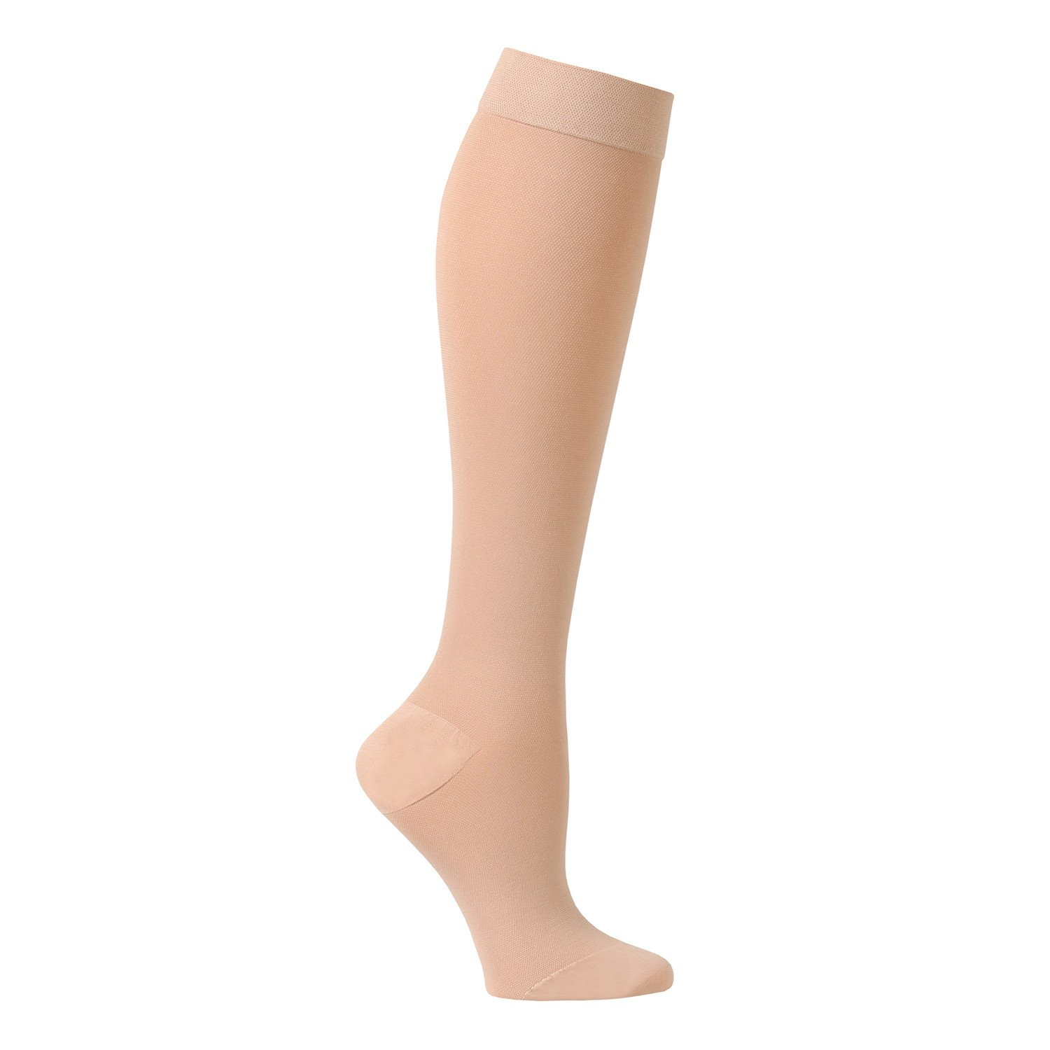Support Plus Women's Firm Compression Hose - Opaque Knee High, Petite Stockings - Beige - Small