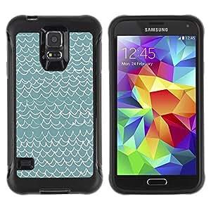 Paccase / Suave TPU GEL Caso Carcasa de Protección Funda para - Waves Pattern Art Blue White Modern - Samsung Galaxy S5 SM-G900