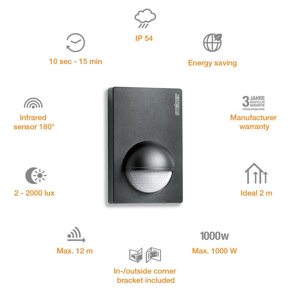 Amazon.com: STEiNEL Motion Sensor IS 180-2 black, 180° Motion Detector, 12 m Reach, Corner Bracket, max. 1000 W or 6 LED lights: Garden & Outdoor
