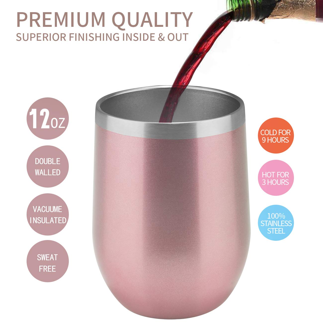 12oz Insulated Cooling Cups,12-Pack, Wine Tumbler with Lid, Stemless Stainless Steel Insulated Wine Glass Double Wall Durable Coffee Mug, for Champaign, Cocktail, Beer, Office use by MUCHENG (Image #5)