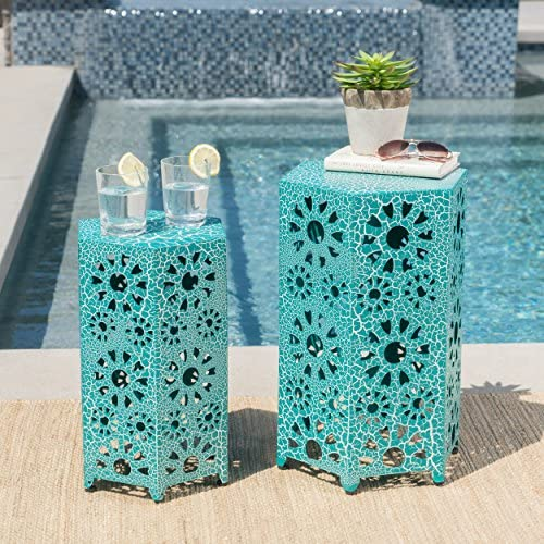 Elliot Nestable Outdoor 12 Inch and 14 Inch Sunburst Iron Side Table Set Crackle Teal