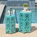 Cheap Elliot Nestable Outdoor 12 Inch and 14 Inch Sunburst Iron Side Table Set (Crackle Teal)