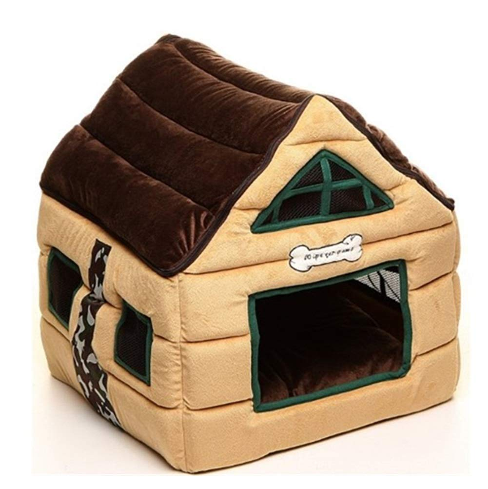 Kennel Winter Keep Warm Pet Supplies, Indoor Dog House Soft Pet Playpen, Dog Cat Puppy Exercise Kennel Brown color