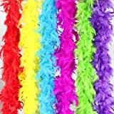 Coceca 6PCS 6.6ft Colorful Party Feather BOA Girls Feather Boas