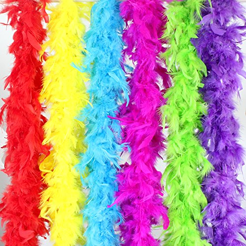 Coceca 6PCS 6.6ft Colorful Party Feather -
