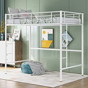 Rhomtree Twin Size Loft Bed Metal Bed with Safety Guardrail and Ladder Bunk Bed Frame for Kids Teens Boys Girls Bedroom Dorm Furniture Space Saving Design (White)