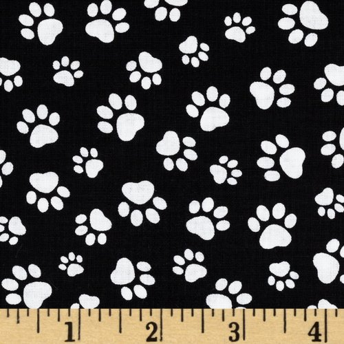 - Timeless Treasures Paw Print Black/White Fabric By The Yard