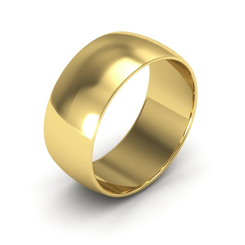Plain Dome Wedding Band Solid 14k Yellow Gold Ring Polished Finish Calssic, 8 mm Size 8.5