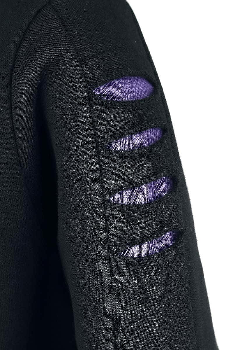 Spiral Direct Wolf Roses-Large Hood Ripped Hoody Purple-Black Sweat-Shirt /À Capuche Femme