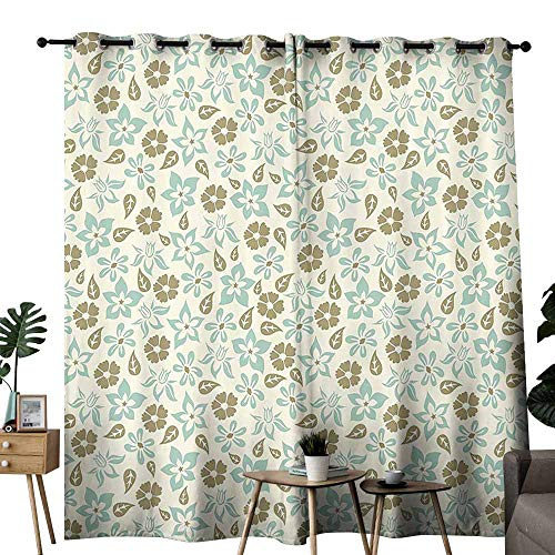 duommhome Retro Blackout Curtain Spring Meadow Inspired Pattern with Tulips Daisies Pansies Bedding Plants Energy Saving Provides a Modern Look W72 xL62 Cream Khaki Turquoise