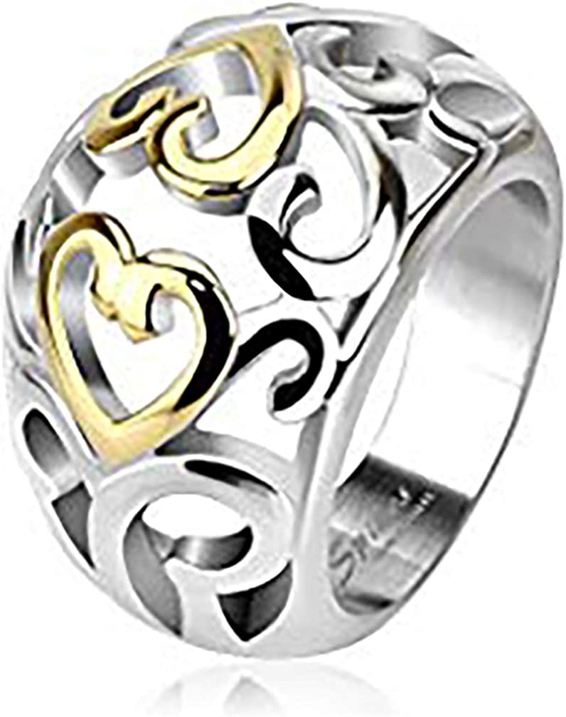 S/&H JEWELRY Vintage Heart Swirls Two Tone IP Frontal Ring Stainless Steel