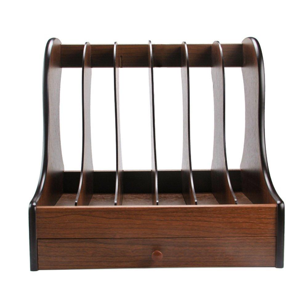 ZHXUANXUAN Bookcase Folders Storage Boxes File Holders Six-Column Wooden Drawer Racks Document Boxes Storage Organizer,WoodColor