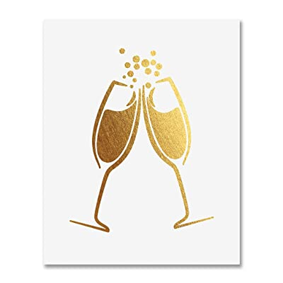 Champagne Toast Gold Foil Art Print Bar Cart Sign Wedding Reception Drinks Party Decor Clinking Flutes Small Poster 5 inches x 7 inches A15