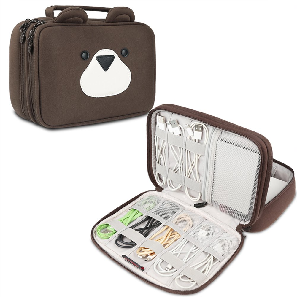 BUBM Portable Electronic Accessories Organizer, Double Layer Carrying Bag for Cables, CF Cards, Power Banks and More